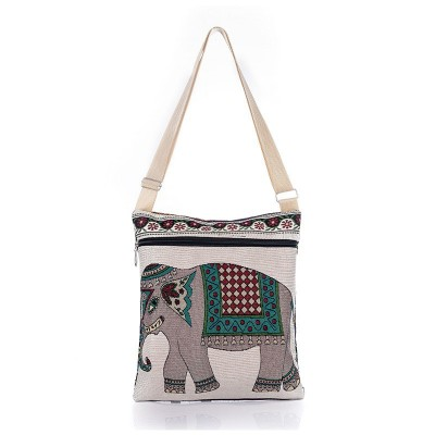 Hot Sale Cartoon Elephant Print Messenger Bags Canvas Women Shoulder Bags For Female Casual Canvas Bags Owl Design Crossbody Bag