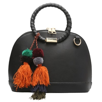 Tassel Round Top Handle Tote Bag Famous Brand Shell Bag Woman Leather Handbags Vintage Small Crossbody Bags For Women Girl Black