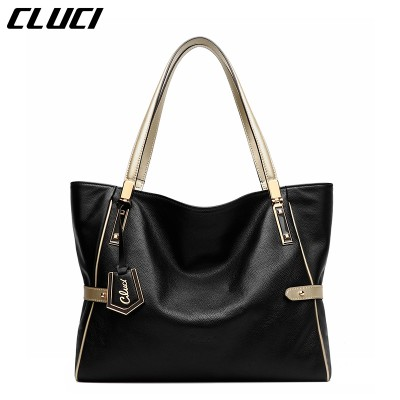 CLUCI Women Genuine Leather Luxury Handbags Vintage Zipper BlackRedGoldPurpleBlue Shoulder Bag Top-handle Bags Neverfull