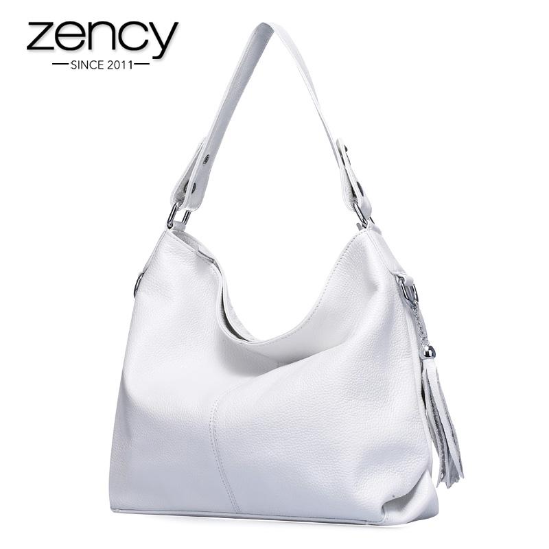 eddcc41562d5 2019 New Fashion Soft Real Genuine Leather Tassel Woman Handbag Ladies  shoulder tote messenger bag purse satchel black white