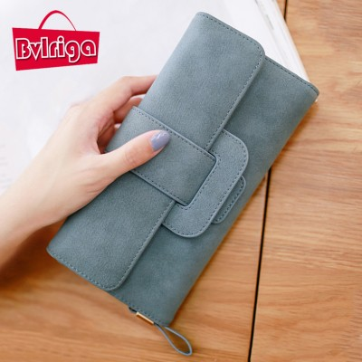 BVLRIGA Women wallets large capacity card holder nubuck leather wallet female clutch bag handbags famous brand long purse simple