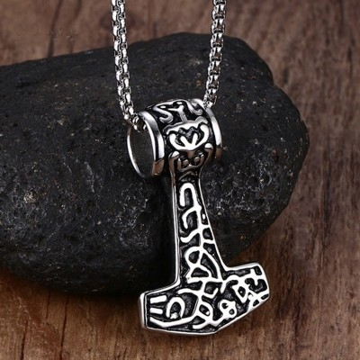 Men Choker Necklaces Gothic Thor Hammer Stainless Steel  Mens Pendants Colar Vikings Punk Jewelry 24 Inch Popcorn Chain New Year