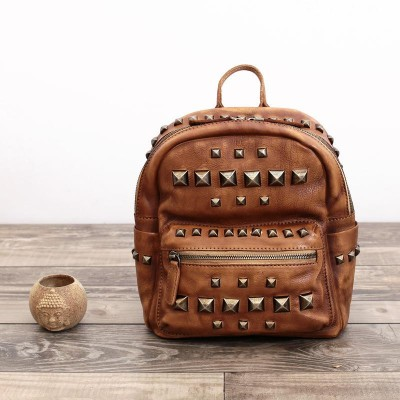 2019 Gothic Steampunk Unique backpack cool bag steampunk fashion 100% Guarantee Real Genuine Leather Brand Handmade Rivets Women Backpack Cowhide Woman Backpacks