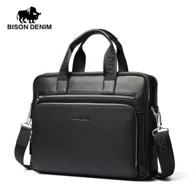 BISON DENIM Genuine  leather briefcases men 14'' Laptop Briefcase Business Zipper Brown Black Handbag Soft Cowhide bag men gift