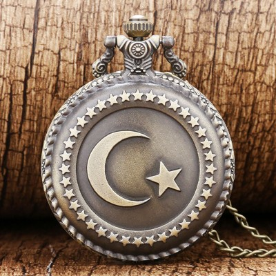 Bronze Turkey Flag Design Moon Star Circle  Quartz Antique Pocket Watch for Men and Women Free Shipping