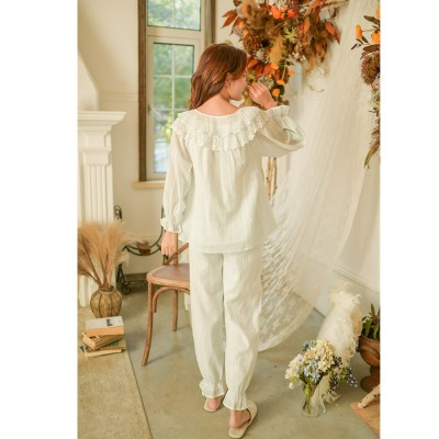 2019 Spring Vintgae Sleepwear Women Night Wear Pajama Set Lace Ruffled Long Sleeve Cotton Pyjama Femme Home Wear Pijama