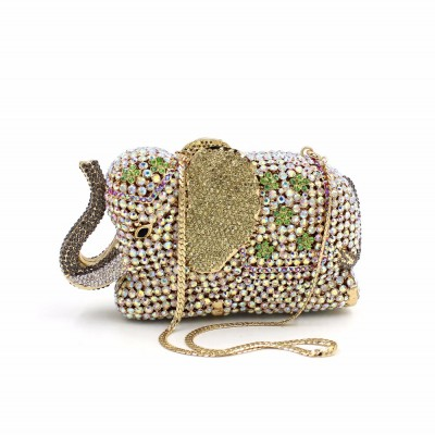 New elephant luxurious wedding bag Clutch high grade full diamond crystal evening bag ladies party prom dinner clutch handbag