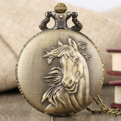 Vintage Bronze Pocket Watch Quartz Retro Horse Full Hunter Pendant Watch with Fob Necklace Chain Best Gift for Men Women reloj