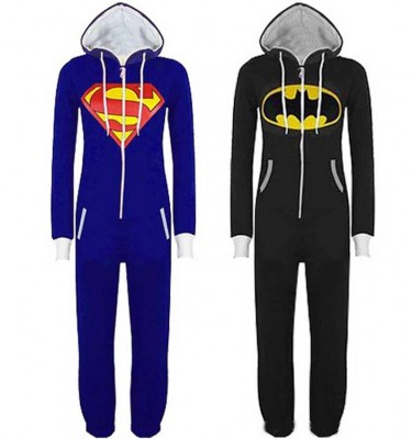 New Arrival Superhero Costume Onesies Adults Superman Blue Onesies Black Batman Onesies for Unisex