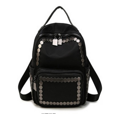 Steelsir 2017 New Fashion Black Rivet Shoulder Bag Women Personality College Large Capacity Tide Gothic Travel Backpacks