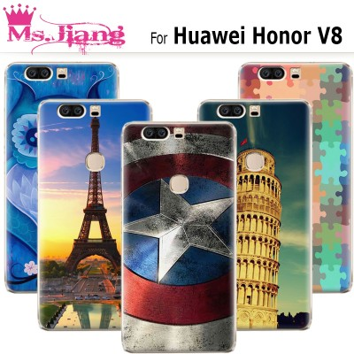 For Huawei Honor V8 case ,New Cute Paris Fashion Paint Hard Plastic Phone Case For fundas Huawei Honor V8 Cases Cover