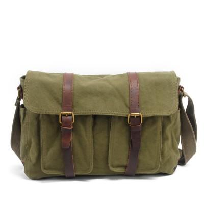 High Quality Retro Men Real Leather Canvas School Bag Casual Travel Bolsa Masculina Mens Crossbody Bag Men Big Messenger Bags