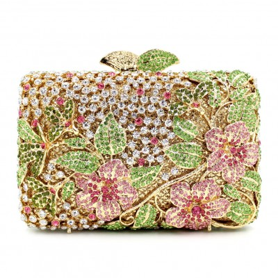 Both Side Handmade Diamond Flower Crystal Evening Bag Clutch Bags Upscale Styling party Day Clutches Lady Wedding mini Purse
