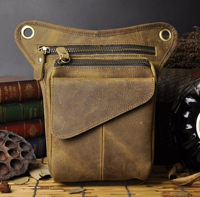 2017 New Top Quality Genuine Real Leather men vintage Brown Small Belt Messenger Bag Waist Pack Drop Leg Bag