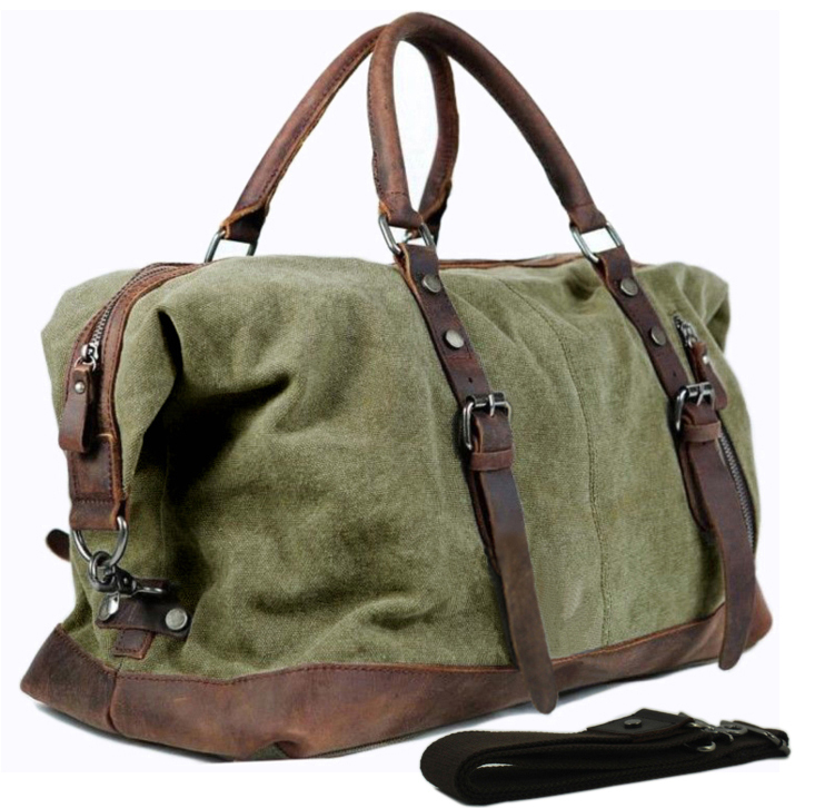 b84722f8a406 Vintage military Canvas Leather men travel bags Carry on Luggage ...