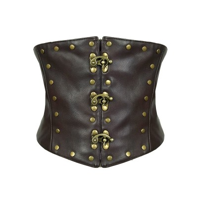 Vintage PU Leather Bronze Rivet Steampunk Corset Waist Cincher for Women