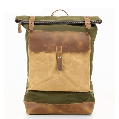 Men Canvas Backpack Waterproof Backpack Male Laptop Backpack Leather Canvas Rucksack