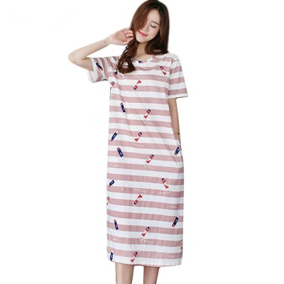 Summer cotton nightwear plus size night dress women nightgown short sleeve ladies sleepwear nightie nightshirt M-3XL