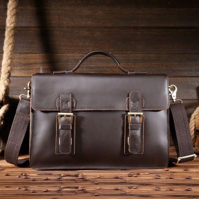 High Quality Business Men Crazy Horse Genuine Leather Briefcase Natural Men Messenger Bags Vintage Shoulder Crossbody Bag 8001