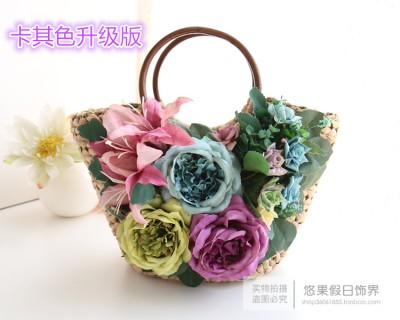 Vintage handmade flower beach bag straw bag woven handbag rustic rattan straw bag