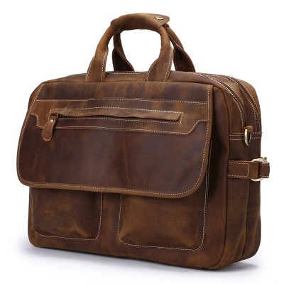Vintage Crazy Time-limited Horse Leather Man Tote Bag Designer Handbag Mens Bags New Men Messenger Shoulder Laptop Briefcase