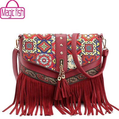 Magic Fish new women messenger bags tassel bag National shoulder bag leather handbag bolsas women crossbody bags purse LM3931mf