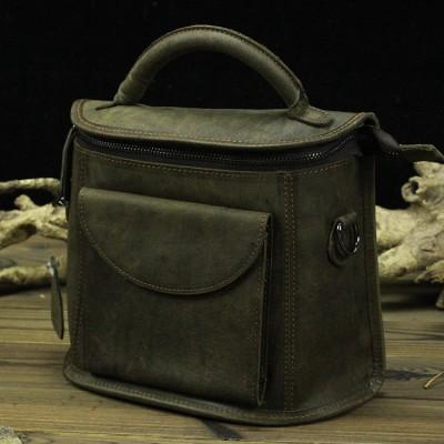 Vintage corium Camera bag Crossbody Single Shoulder Bag Crazy Horse Leather Messenger Bag handbag Tote with men and women