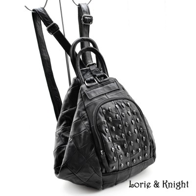 Womens Real Lambskin Leather Skull Stud Gothic Punk Backpack Multi-functiona Tote Bag/Single Shoulder Bag
