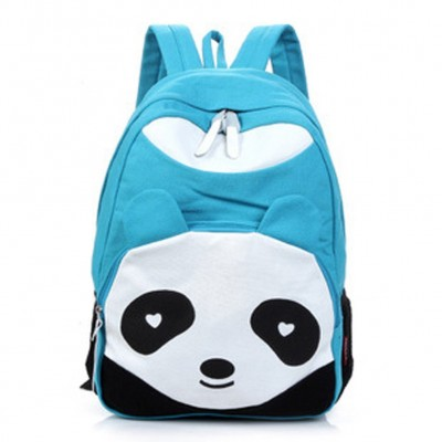 5pcs( Womens Panda Style School Bags Canvas Bookbag Rucksack - Sky Blue