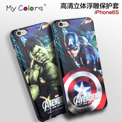 "cartoon phone cases for IPhone 6s Case 3D Stereo Relief Painting luxury soft silicon cartoon Case Back Cover For iPhone 6S 4.7"" cartoon cases"