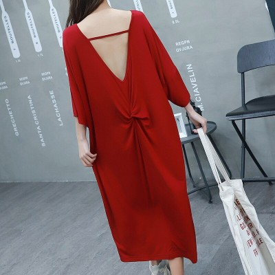 2019 summer women sleepdress female loose dress sexy backless short-sleeved nightdress both for outside wear