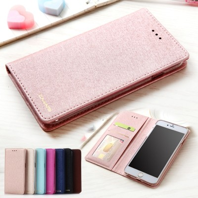 Case For Apple iPhone 6 6S Plus Silk Leather & Silicone Flip Cover iPhone 6 6s Plus Case With Wallet Coque For iPhone6 Plus