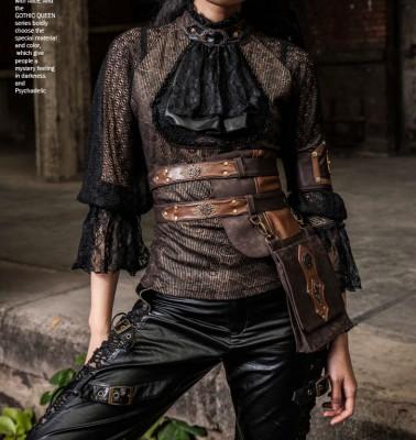 Retro European Industrial Revolution Knight Steampunk Genuine Leather Belt Waist Bag for Women