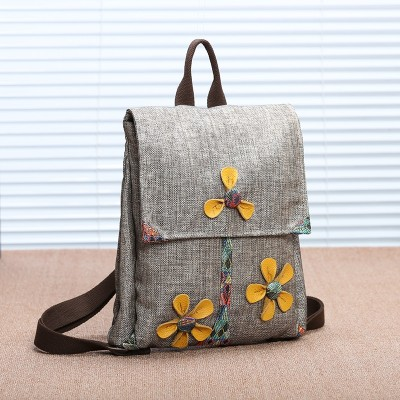 New Women Traditional Backpacks National Flower Embroidery Backpack Travel Shoulder Bags School Bag Backpacks for Teenager Girls