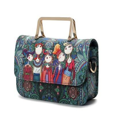 Designer Leather Handbag Pu Cartoon Painted Fashion Portable Leisure Ladies Character Totes Flap Bag Handbags  Crossbody Bags
