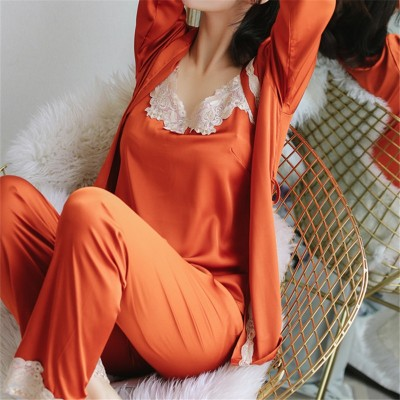 2019 Satin Three 3 Pieces Sleepwear Female Sexy Lace Silk Pajamas Set Hollow Out Coat Strap Vest Long Pants Robe Gown Sets