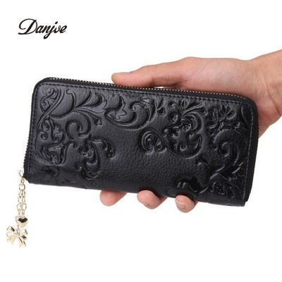 DANJUE Fashion Genuine Leather Women purse Zipper Around wallet Flower pattern female Long real cowhide Wallets Bags Handbags