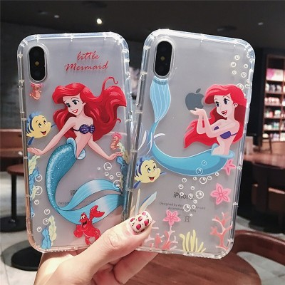 Cartoon Little Mermaid Phone Case for iPhone X  XR Xs Max 7 6s 6 plus 8 plus Case Soft Cover