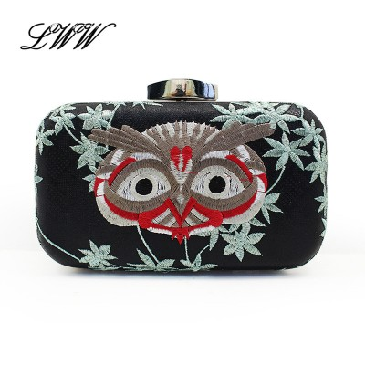 European and American Style Handbag Lady Shoulder Bag Women Embroidery Owl Bags Spain Style Evening Clutch Bags Party Clutches