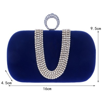Rhinestones Evening Bag Wedding Purse Finger Ring Diamonds Chain Shoulder Handbags Crystal Evening Bag