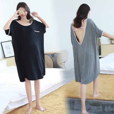 plus size women sleepwear modal nightdress dresses loose dress backless Pregnant woman sexy  gecelik nightwear nightgown lady