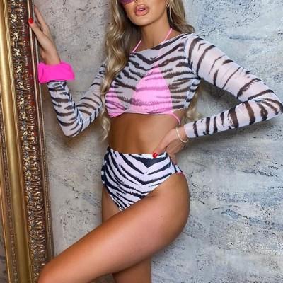 New Zebra Long Sleeve High Waist Bikini Women Swimwear Female Swimsuit Three-pieces Bikini set Halter Bather Bathing Suit Swim