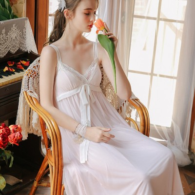 Sleeveless Nightgown Long Dress Sexy Princess Woman Sleepwear Vintage Lace Sweet Nightgown Summer Women Nightwear Bow-knot