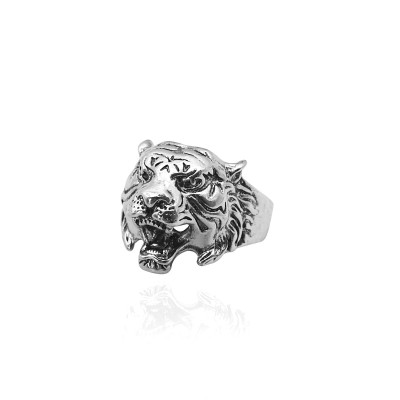 Vintage Punk Tiger Head Ring Gothic Cool Men Tiger Rings Man Domineering Biker Mens Animal Ring Jewelry Drop Shipping Anel