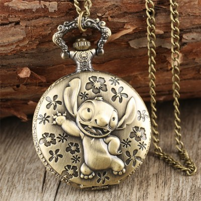Brozne Cute Lilo  Stitch Theme Pocket Watch for Children Pendant Necklace Chain Quartz Pocket Clock Gifts for Boys Girls