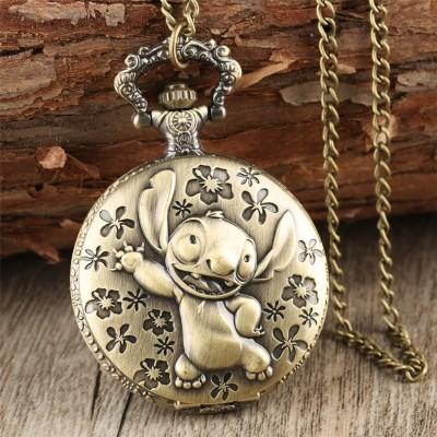 Brozne Cute Lilo  Stitch Theme Pocket Watch for Children Pendant Necklace Chain Quartz Pocket Clock Gifts for Boys Girls