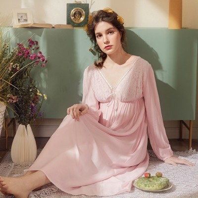 Lady Sexy Nightgown Long Nightdress Pink Lace Cotton Viscose Nightgown V-neck Classic Sleepwear Dress For Women  Size S - 4XL