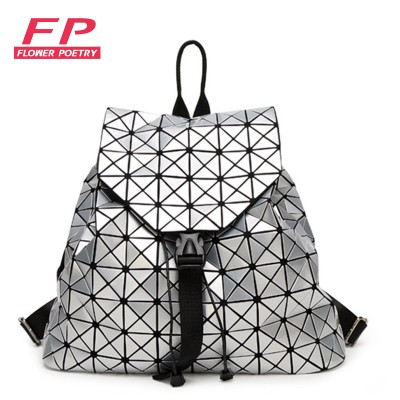 Fashion Women Drawstring Backpack Diamond Lattice Geometry Quilted Ladies  Backpack Sac Bag For Teenage girl Bao 4f8cb2ce23238