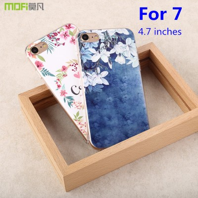 Phone Cases For iphone For iphone 7 case MOFi original for iphone 7 cover TPU soft back case transparent silicone ultra cartoon flower bohemia 3D 4.7""