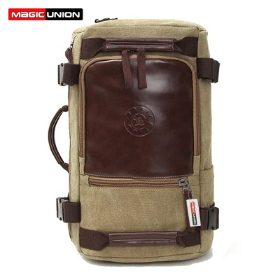 MAGIC UNION Men's Travel Bags Casual Men Canvas Shoulder Backpack With Three Large-capacity Multi-purpose Bag men backpacks